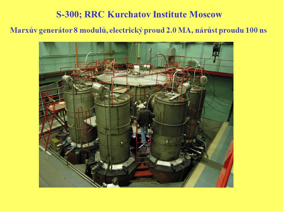 S-300; RRC Kurchatov Institute Moscow Marxův generátor 8 modulů, electrický proud 2.0 MA, nárůst proudu 100 ns