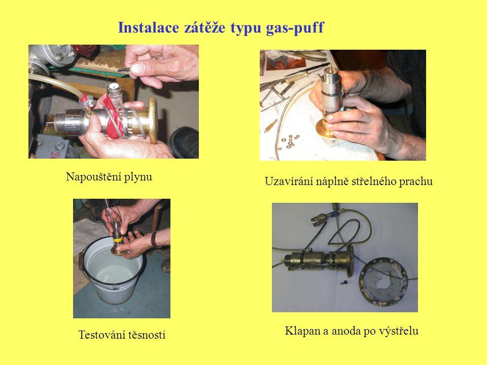 Instalace zátěže typu gas-puff Napouštění plynu Klapan a anoda po výstřelu Uzavírání náplně střelného prachu Testování těsnosti