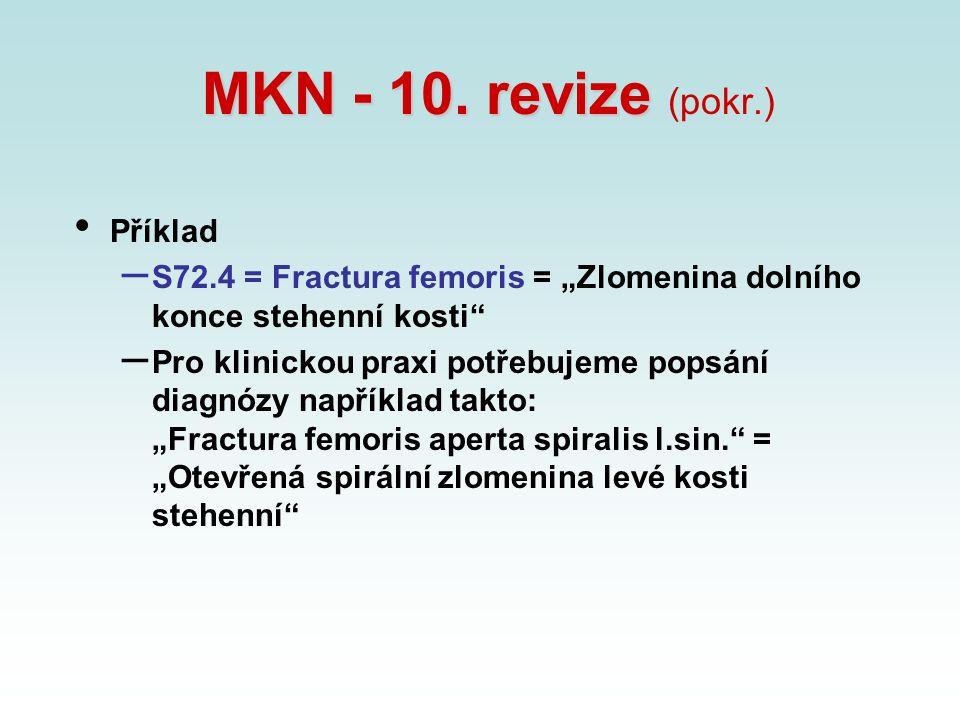 """MKN - 10. revize MKN - 10. revize (pokr.) Příklad – S72.4 = Fractura femoris = """"Zlomenina dolního konce stehenní kosti"""" – Pro klinickou praxi potřebuj"""