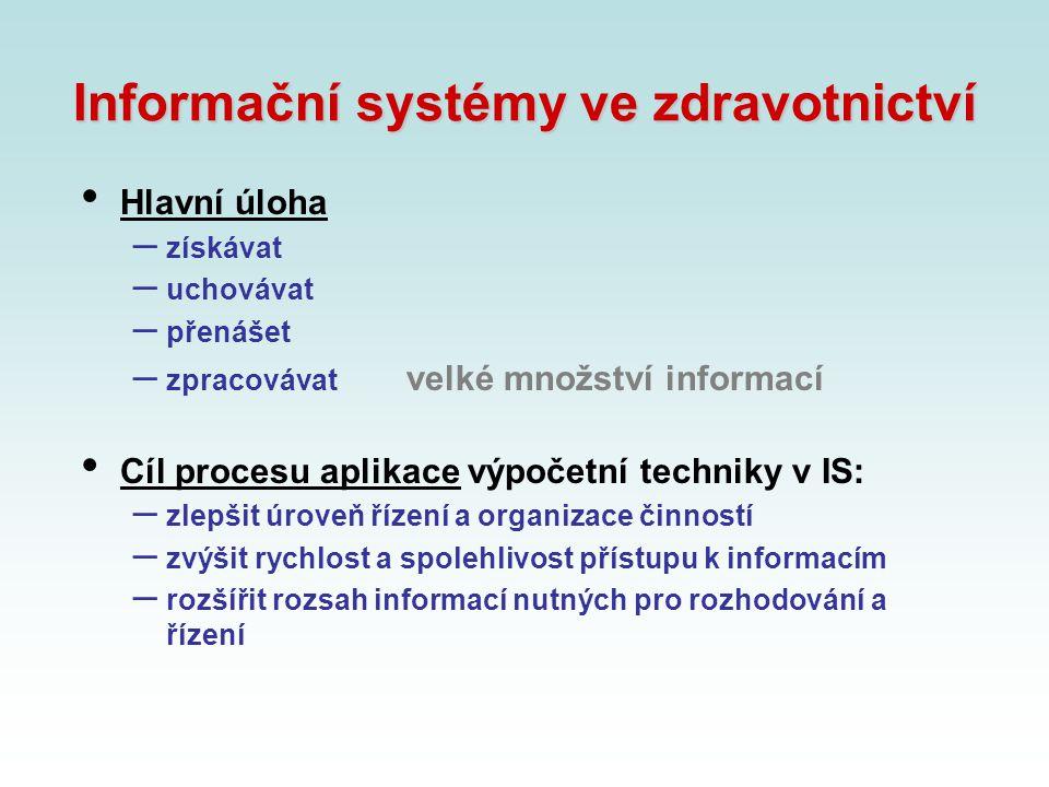 Informační systémy ve zdravotnictví Hlavní úloha – získávat – uchovávat – přenášet – zpracovávat velké množství informací Cíl procesu aplikace výpočet