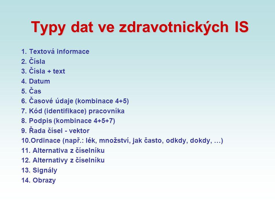 Typy dat ve zdravotnických IS 1. Textová informace 2. Čísla 3. Čísla + text 4. Datum 5. Čas 6. Časové údaje (kombinace 4+5) 7. Kód (identifikace) prac