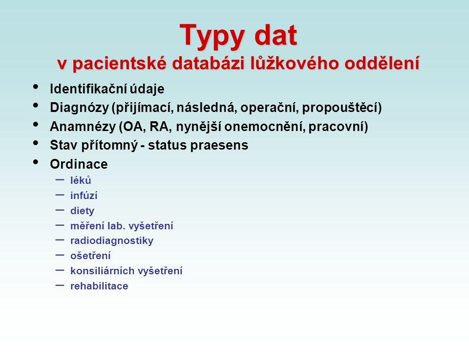 Typy dat v pacientské databázi lůžkového oddělení Identifikační údaje Diagnózy (přijímací, následná, operační, propouštěcí) Anamnézy (OA, RA, nynější