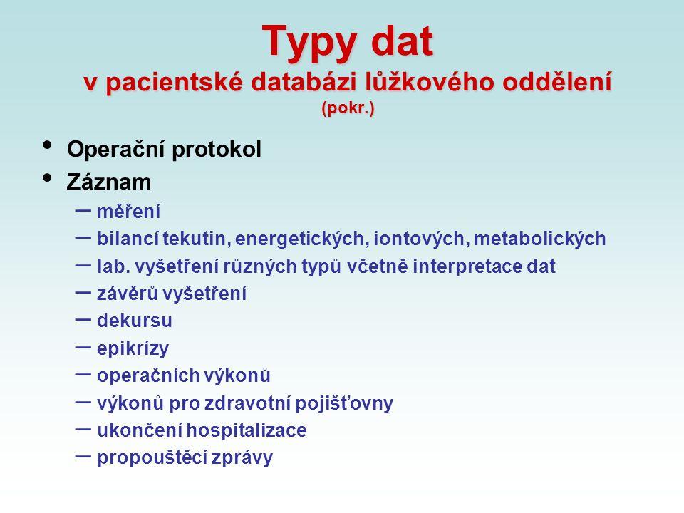 Typy dat v pacientské databázi lůžkového oddělení (pokr.) Operační protokol Záznam – měření – bilancí tekutin, energetických, iontových, metabolických