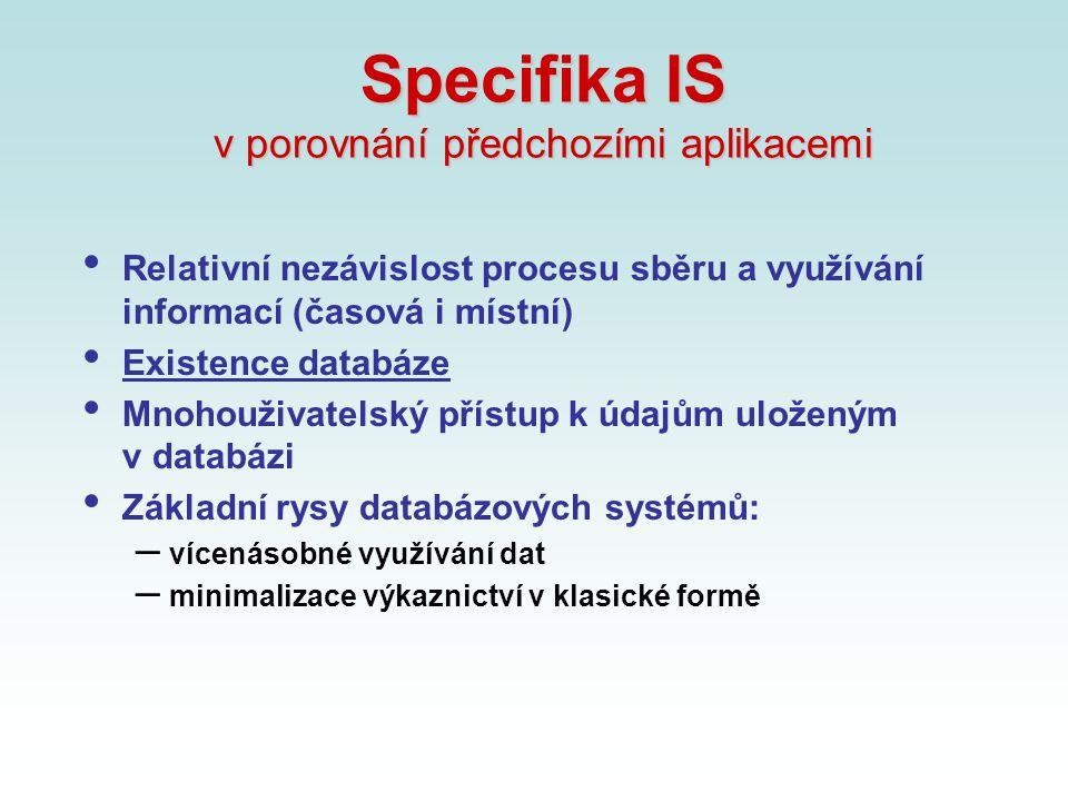 Specifika IS v porovnání předchozími aplikacemi Relativní nezávislost procesu sběru a využívání informací (časová i místní) Existence databáze Mnohouž