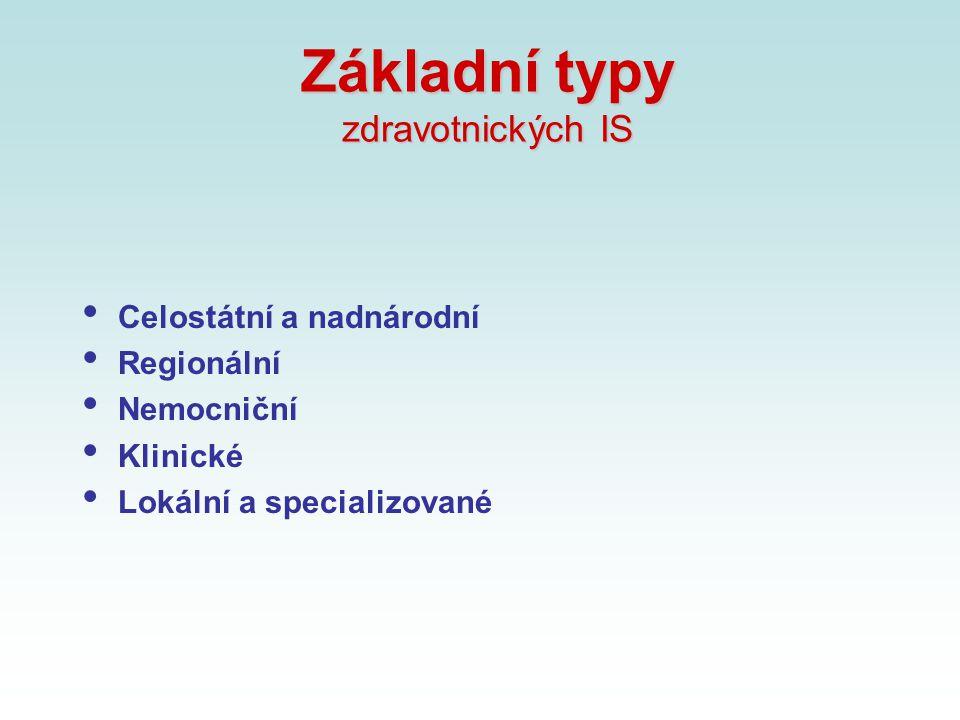 Základní typy zdravotnických IS Celostátní a nadnárodní Regionální Nemocniční Klinické Lokální a specializované