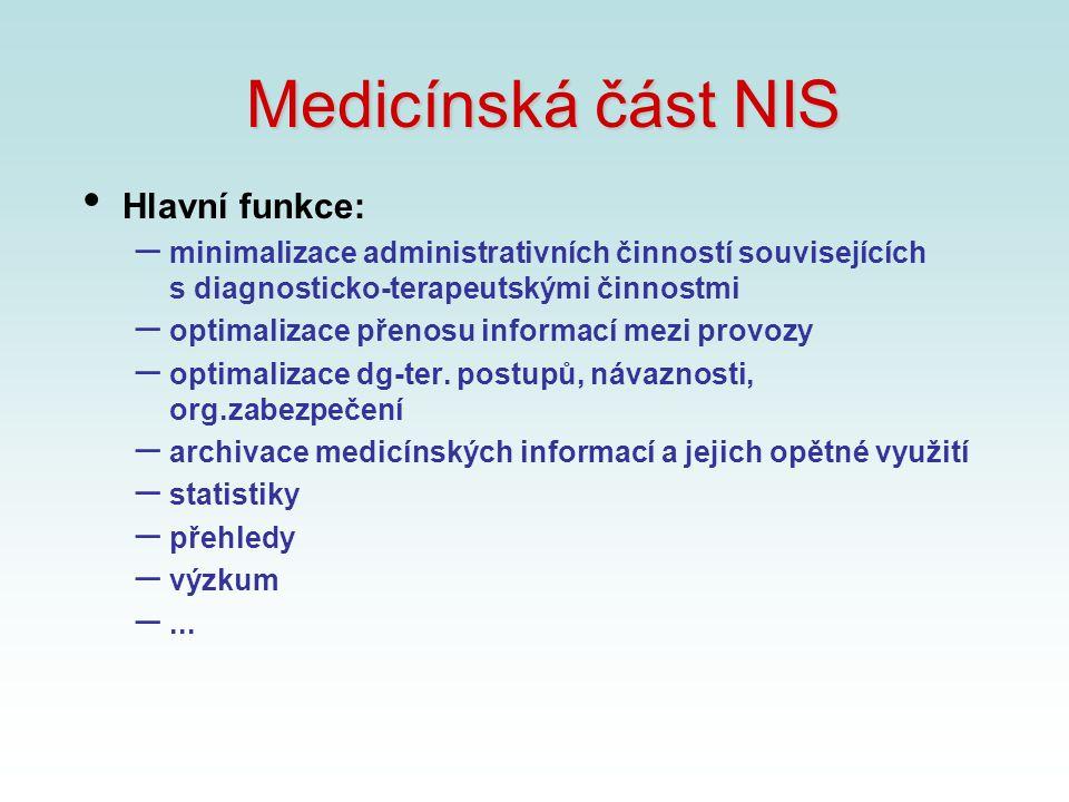 Medicínská část NIS Hlavní funkce: – minimalizace administrativních činností souvisejících s diagnosticko-terapeutskými činnostmi – optimalizace přeno