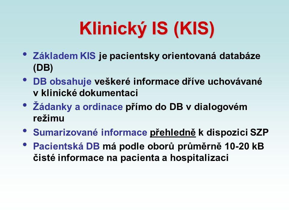 Klinický IS (KIS) Základem KIS je pacientsky orientovaná databáze (DB) DB obsahuje veškeré informace dříve uchovávané v klinické dokumentaci Žádanky a