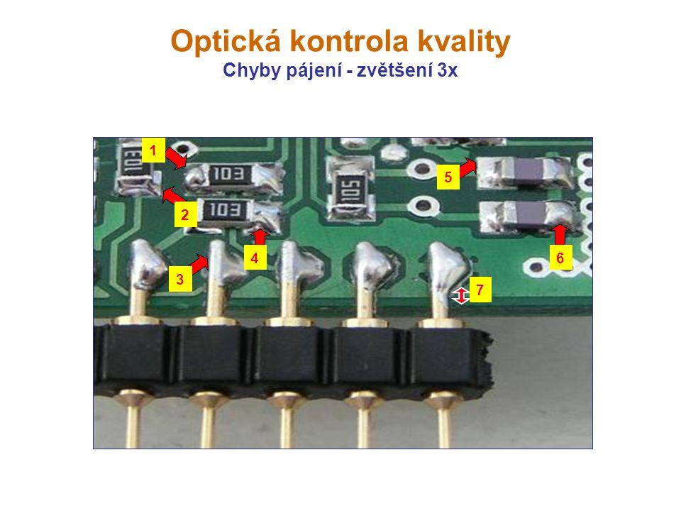 Optická kontrola kvality Chyby pájení - zvětšení 3x 7 1 2 3 4 5 6