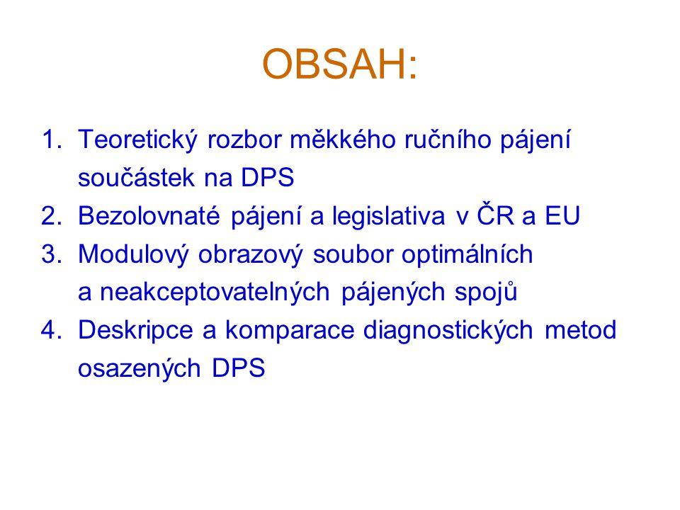 OBSAH: 1. Teoretický rozbor měkkého ručního pájení součástek na DPS 2. Bezolovnaté pájení a legislativa v ČR a EU 3. Modulový obrazový soubor optimáln