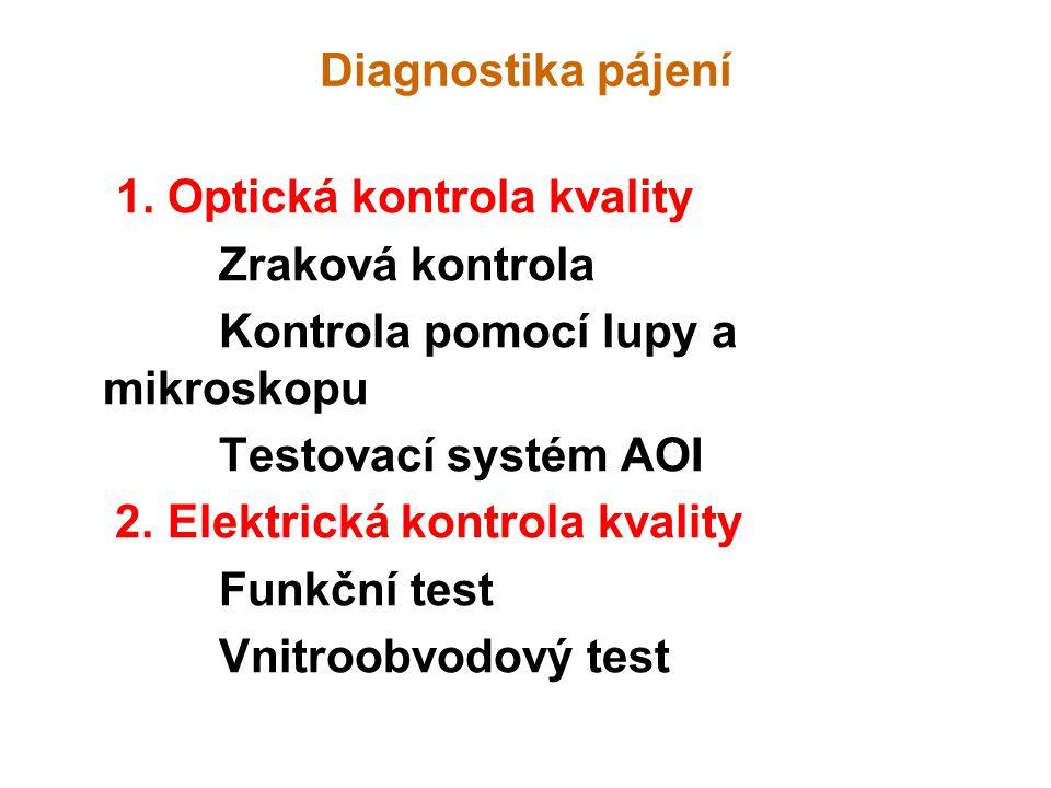 Diagnostika pájení 1. Optická kontrola kvality Zraková kontrola Kontrola pomocí lupy a mikroskopu Testovací systém AOI 2. Elektrická kontrola kvality