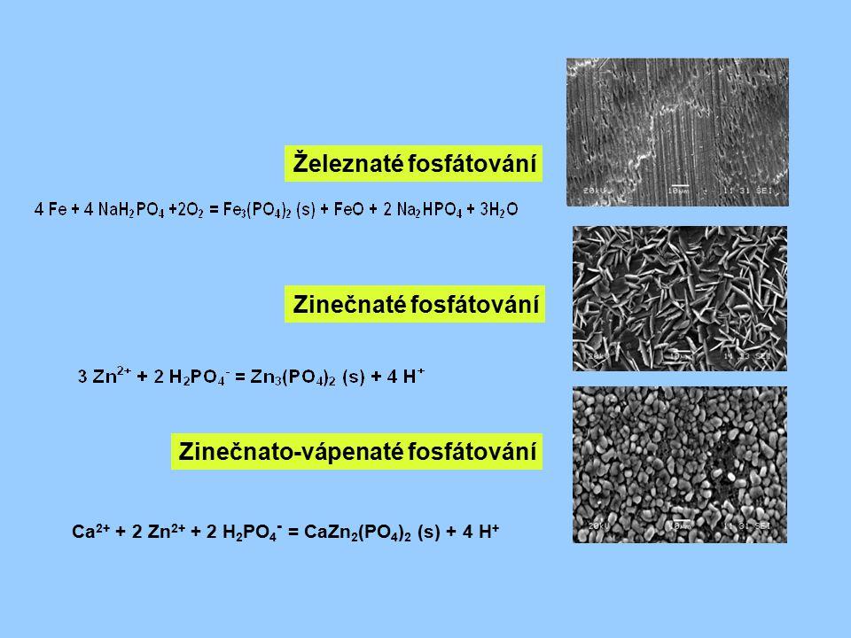 Železnaté fosfátování Zinečnaté fosfátování Zinečnato-vápenaté fosfátování Ca 2+ + 2 Zn 2+ + 2 H 2 PO 4 - = CaZn 2 (PO 4 ) 2 (s) + 4 H +