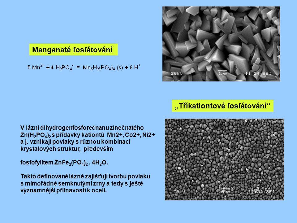Manganaté fosfátování V lázni dihydrogenfosforečnanu zinečnatého Zn(H 2 PO 4 ) 2 s přídavky kationtů Mn2+, Co2+, Ni2+ a j. vznikají povlaky s různou k