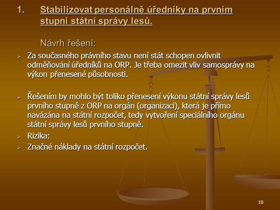 10 1.Stabilizovat personálně úředníky na prvním stupni státní správy lesů.