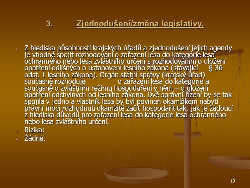 13 3.Zjednodušení/změna legislativy.