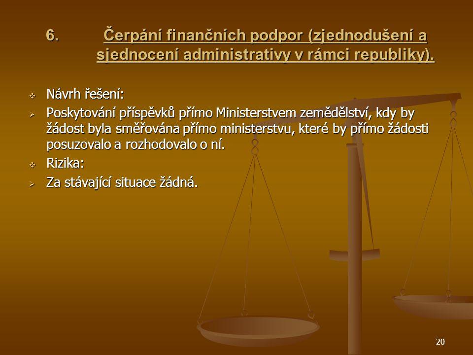 20 6.Čerpání finančních podpor (zjednodušení a sjednocení administrativy v rámci republiky).