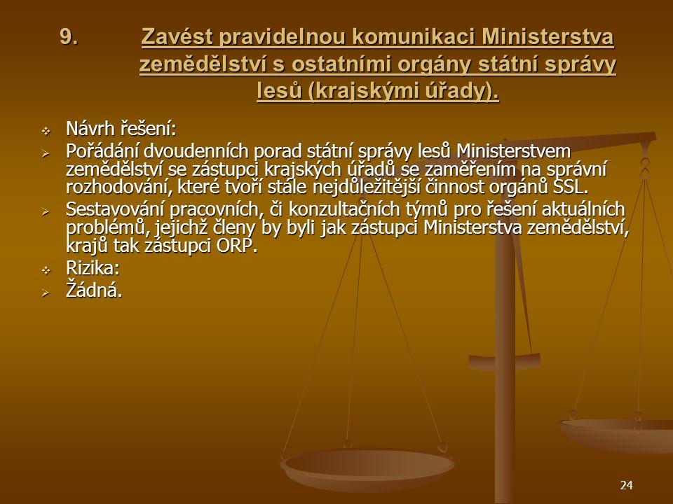 24 9.Zavést pravidelnou komunikaci Ministerstva zemědělství s ostatními orgány státní správy lesů (krajskými úřady).