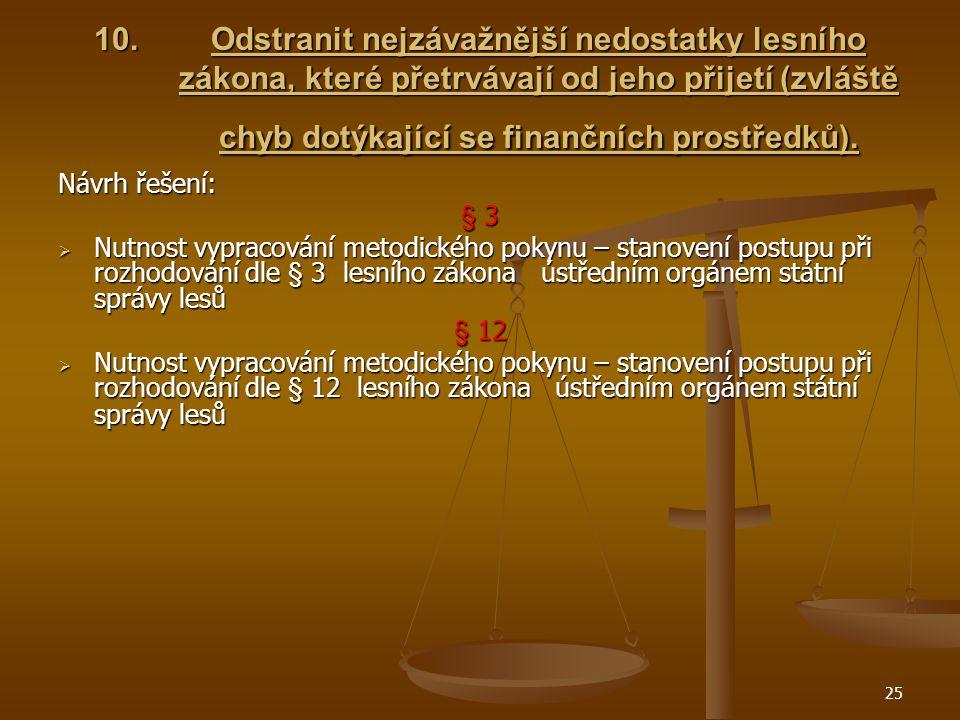 25 10.Odstranit nejzávažnější nedostatky lesního zákona, které přetrvávají od jeho přijetí (zvláště chyb dotýkající se finančních prostředků).