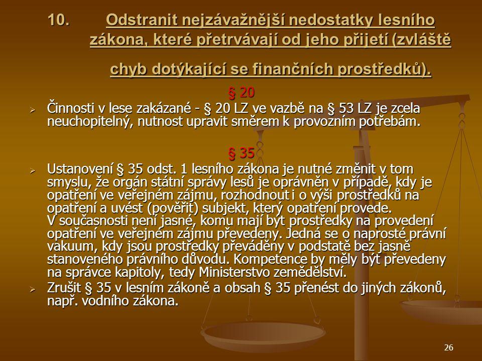 26 10.Odstranit nejzávažnější nedostatky lesního zákona, které přetrvávají od jeho přijetí (zvláště chyb dotýkající se finančních prostředků).