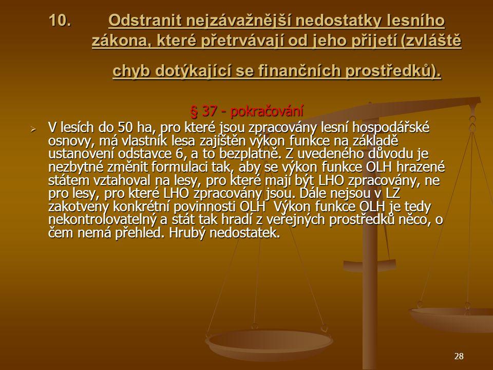 28 10.Odstranit nejzávažnější nedostatky lesního zákona, které přetrvávají od jeho přijetí (zvláště chyb dotýkající se finančních prostředků).