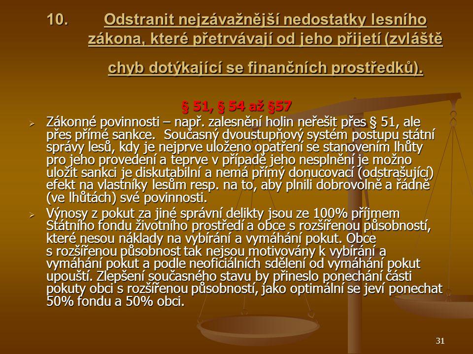 31 10.Odstranit nejzávažnější nedostatky lesního zákona, které přetrvávají od jeho přijetí (zvláště chyb dotýkající se finančních prostředků).