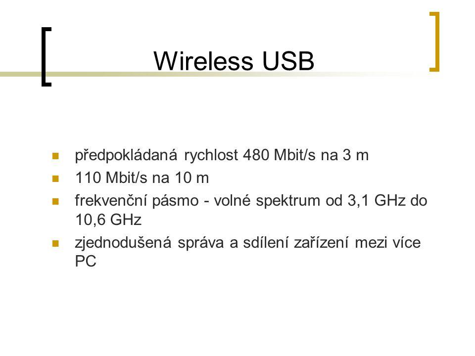 Wireless USB předpokládaná rychlost 480 Mbit/s na 3 m 110 Mbit/s na 10 m frekvenční pásmo - volné spektrum od 3,1 GHz do 10,6 GHz zjednodušená správa a sdílení zařízení mezi více PC