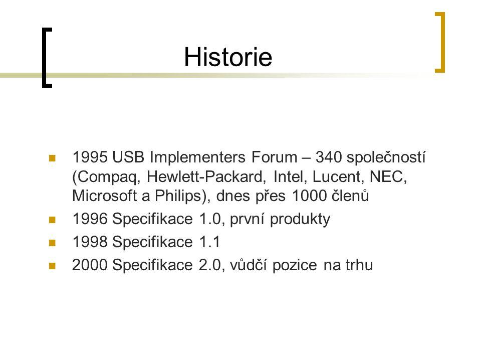 Historie 1995 USB Implementers Forum – 340 společností (Compaq, Hewlett-Packard, Intel, Lucent, NEC, Microsoft a Philips), dnes přes 1000 členů 1996 Specifikace 1.0, první produkty 1998 Specifikace 1.1 2000 Specifikace 2.0, vůdčí pozice na trhu