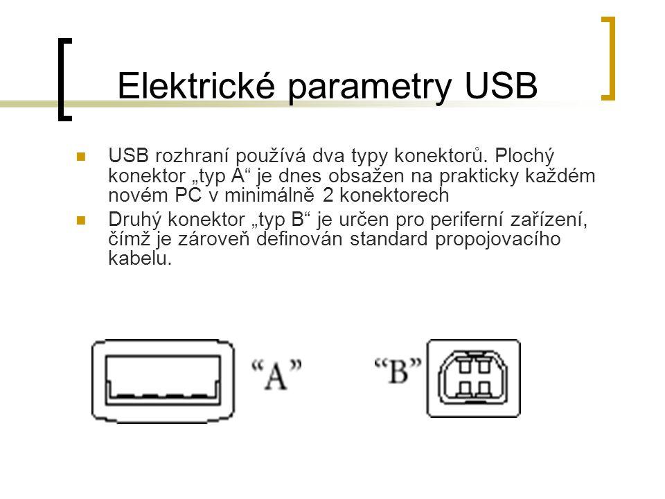 Elektrické parametry USB USB rozhraní používá dva typy konektorů.
