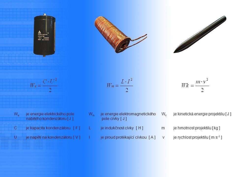 W e je energie elektrického pole nabitého kondenzátoru [ J ] C je kapacita kondenzátoru[ F ] U je napětí na kondenzátoru[ V ] W m je energie elektroma