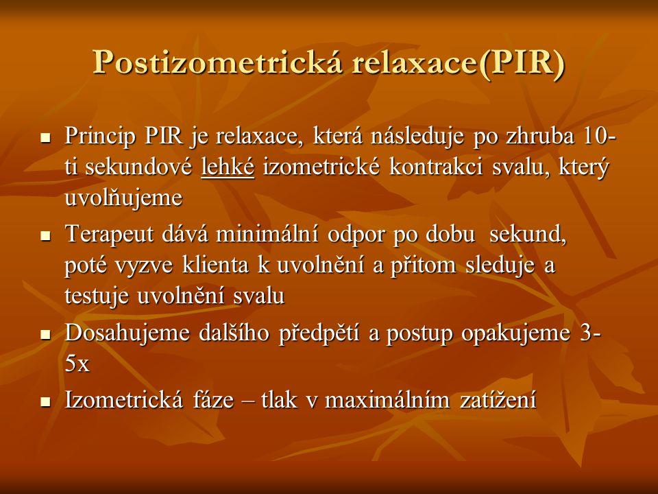 Postizometrická relaxace(PIR) Princip PIR je relaxace, která následuje po zhruba 10- ti sekundové lehké izometrické kontrakci svalu, který uvolňujeme