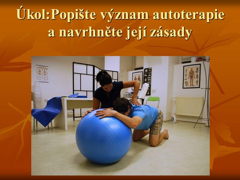 Úkol:Popište význam autoterapie a navrhněte její zásady