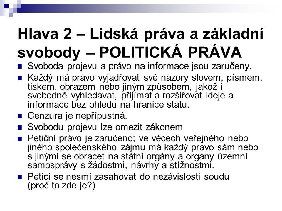 Hlava 2 – Lidská práva a základní svobody – POLITICKÁ PRÁVA Svoboda projevu a právo na informace jsou zaručeny.