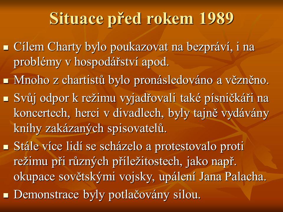 Situace před rokem 1989 Cílem Charty bylo poukazovat na bezpráví, i na problémy v hospodářství apod. Cílem Charty bylo poukazovat na bezpráví, i na pr