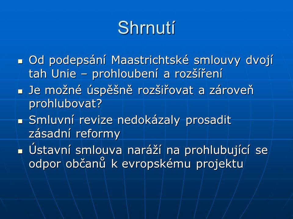 Shrnutí Od podepsání Maastrichtské smlouvy dvojí tah Unie – prohloubení a rozšíření Od podepsání Maastrichtské smlouvy dvojí tah Unie – prohloubení a