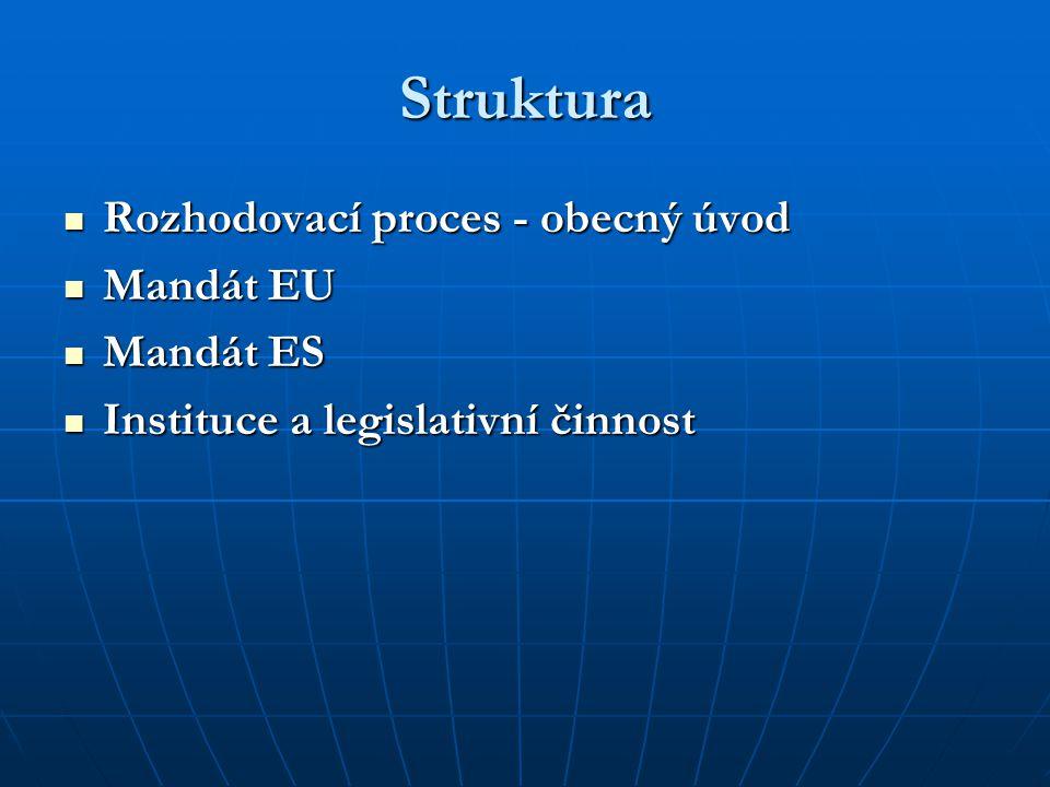 Struktura Rozhodovací proces - obecný úvod Rozhodovací proces - obecný úvod Mandát EU Mandát EU Mandát ES Mandát ES Instituce a legislativní činnost I