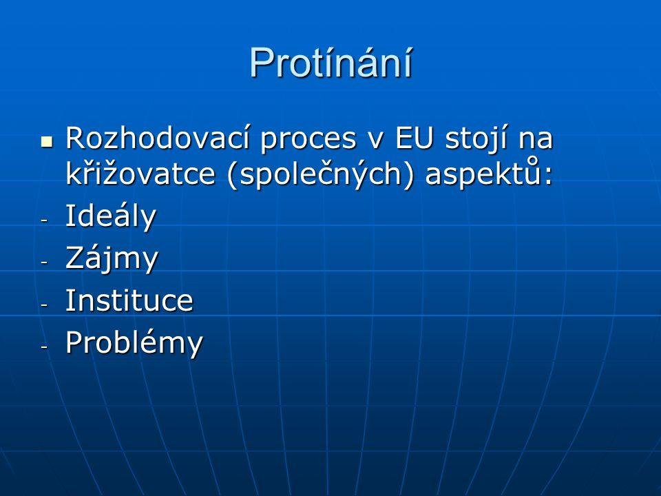Protínání Rozhodovací proces v EU stojí na křižovatce (společných) aspektů: Rozhodovací proces v EU stojí na křižovatce (společných) aspektů: - Ideály