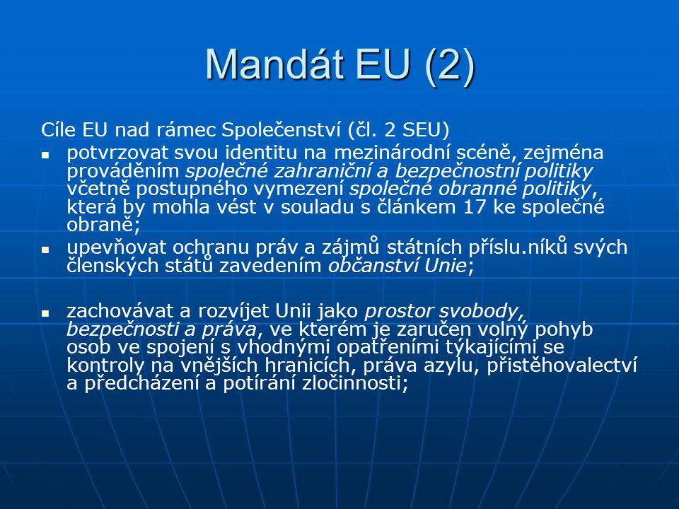 Mandát EU (2) Cíle EU nad rámec Společenství (čl. 2 SEU) potvrzovat svou identitu na mezinárodní scéně, zejména prováděním společné zahraniční a bezpe