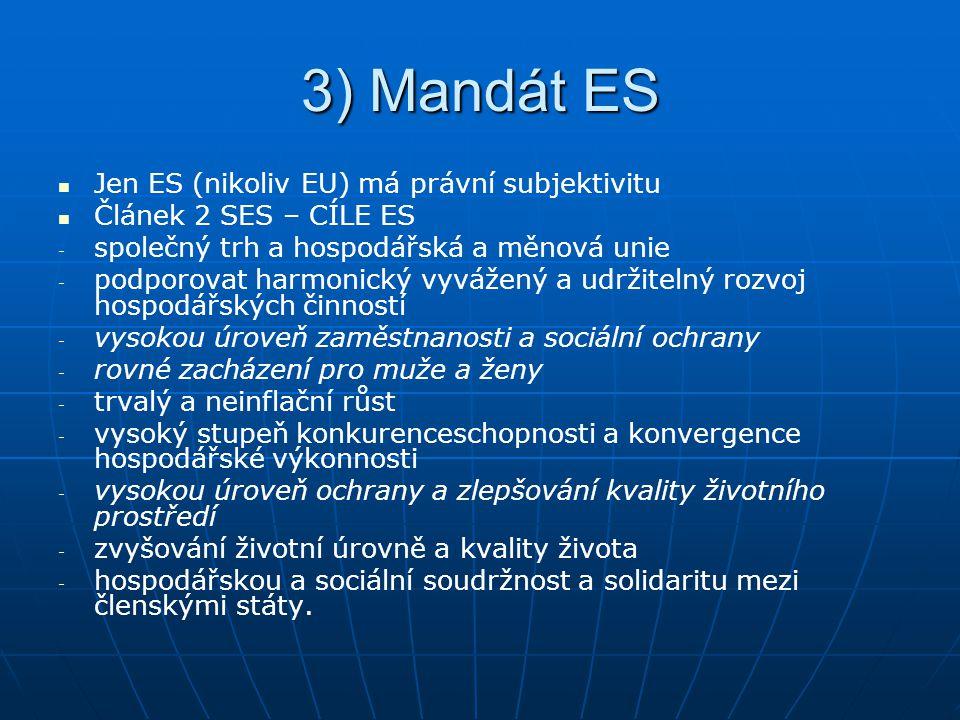 3) Mandát ES Jen ES (nikoliv EU) má právní subjektivitu Článek 2 SES – CÍLE ES - - společný trh a hospodářská a měnová unie - - podporovat harmonický