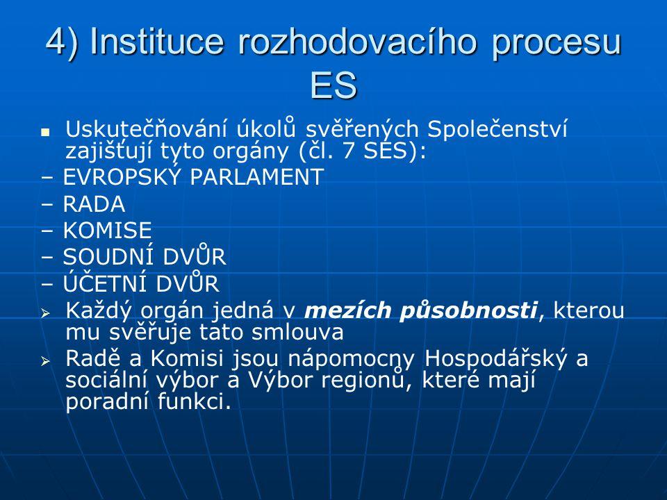 4) Instituce rozhodovacího procesu ES Uskutečňování úkolů svěřených Společenství zajišťují tyto orgány (čl. 7 SES): – EVROPSKÝ PARLAMENT – RADA – KOMI