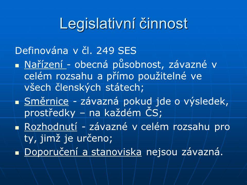 Legislativní činnost Definována v čl. 249 SES Nařízení - obecná působnost, závazné v celém rozsahu a přímo použitelné ve všech členských státech; Směr