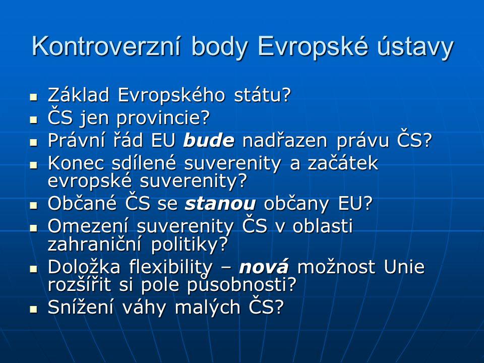 Kontroverzní body Evropské ústavy Základ Evropského státu? Základ Evropského státu? ČS jen provincie? ČS jen provincie? Právní řád EU bude nadřazen pr