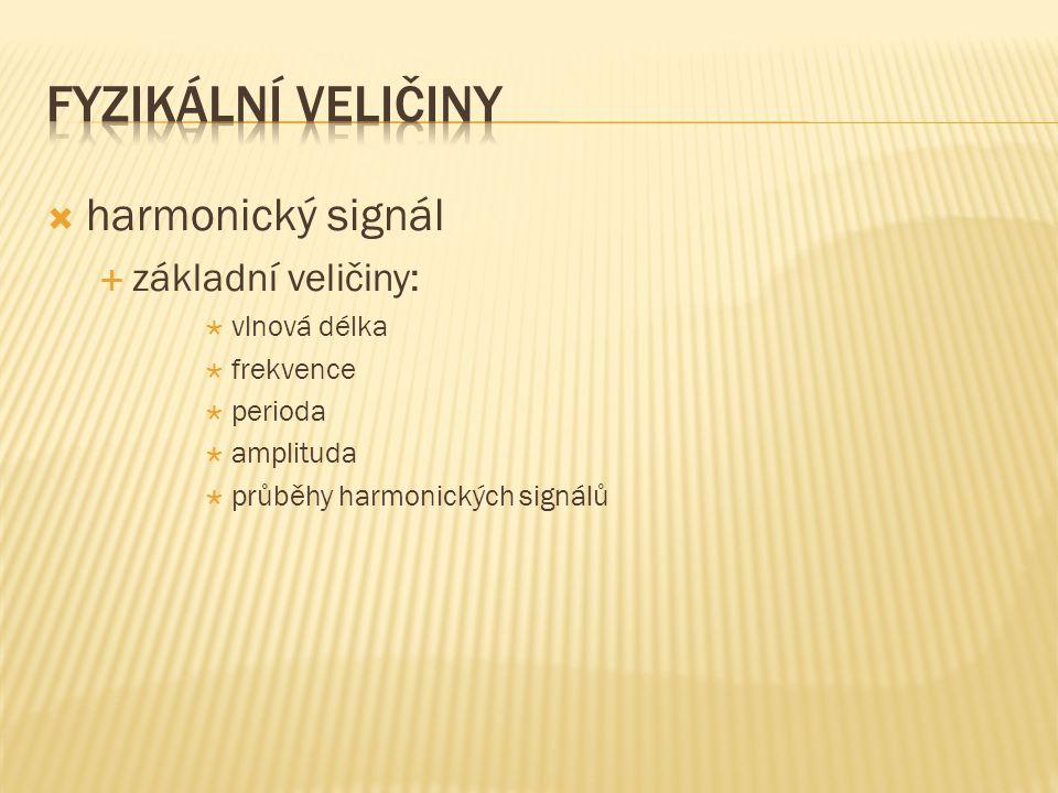  harmonický signál  základní veličiny:  vlnová délka  frekvence  perioda  amplituda  průběhy harmonických signálů