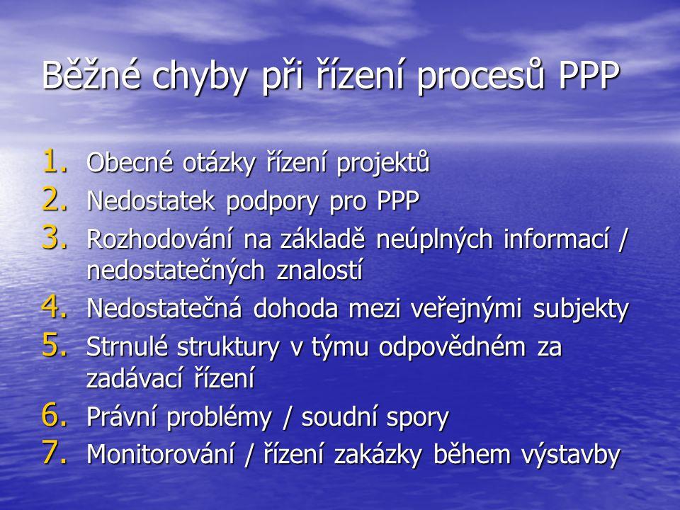 Běžné chyby při řízení procesů PPP 1. Obecné otázky řízení projektů 2.
