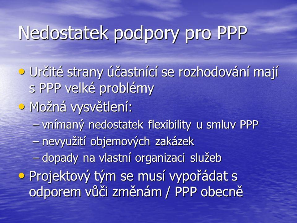 Nedostatek podpory pro PPP Určité strany účastnící se rozhodování mají s PPP velké problémy Určité strany účastnící se rozhodování mají s PPP velké problémy Možná vysvětlení: Možná vysvětlení: –vnímaný nedostatek flexibility u smluv PPP –nevyužití objemových zakázek –dopady na vlastní organizaci služeb Projektový tým se musí vypořádat s odporem vůči změnám / PPP obecně Projektový tým se musí vypořádat s odporem vůči změnám / PPP obecně