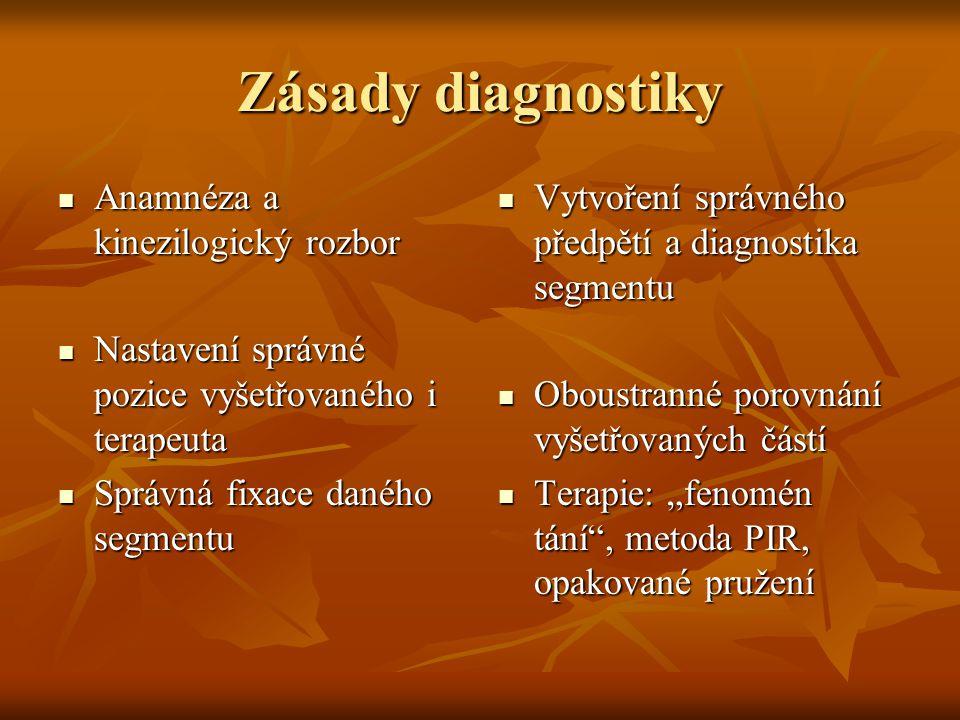 Zásady diagnostiky Anamnéza a kinezilogický rozbor Anamnéza a kinezilogický rozbor Nastavení správné pozice vyšetřovaného i terapeuta Nastavení správn