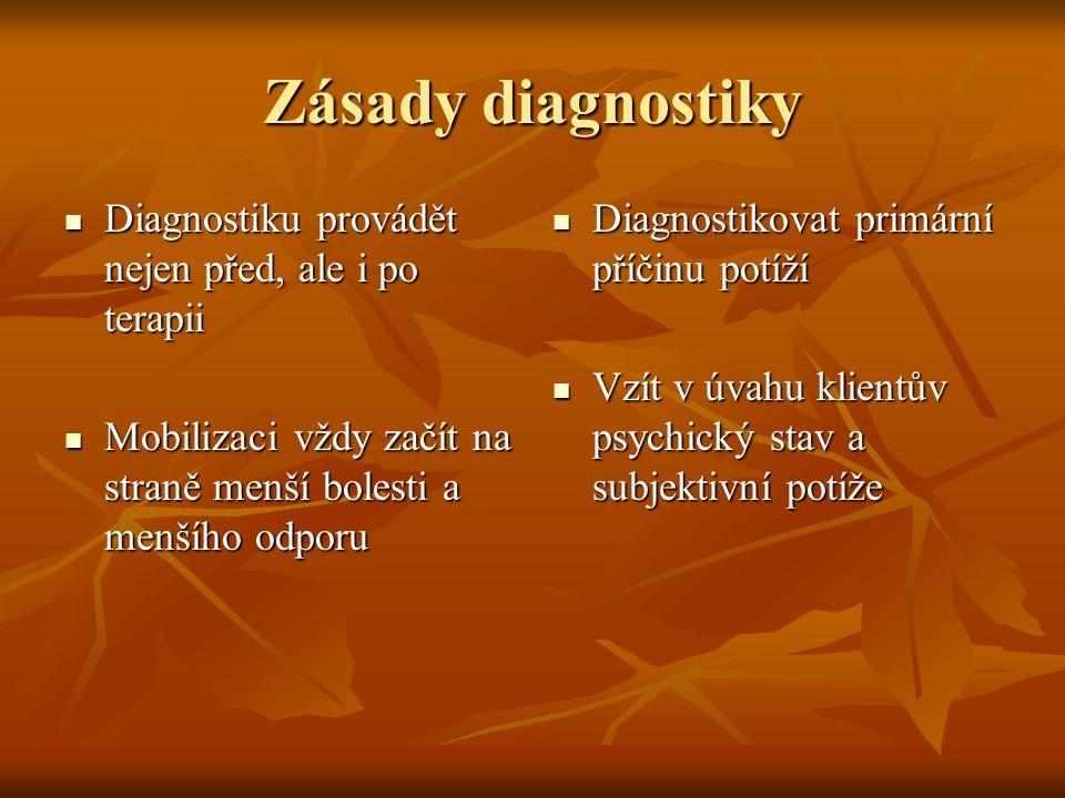 Zásady diagnostiky Diagnostiku provádět nejen před, ale i po terapii Diagnostiku provádět nejen před, ale i po terapii Mobilizaci vždy začít na straně
