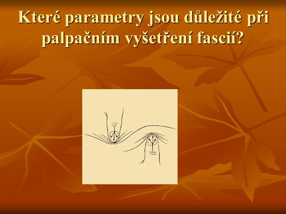 Které parametry jsou důležité při palpačním vyšetření fascií?