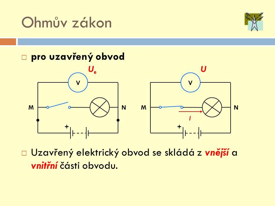 Ohmův zákon  pro uzavřený obvod  Uzavřený elektrický obvod se skládá z vnější a vnitřní části obvodu. I M N UeUe V + M N U V +