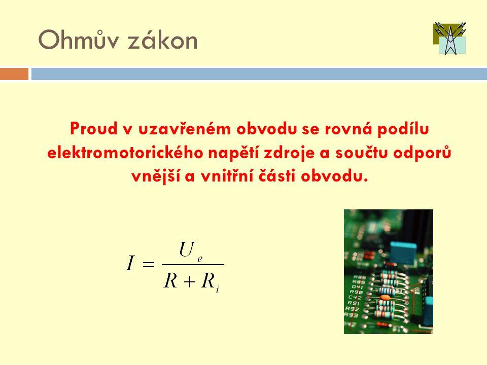 Ohmův zákon Proud v uzavřeném obvodu se rovná podílu elektromotorického napětí zdroje a součtu odporů vnější a vnitřní části obvodu.