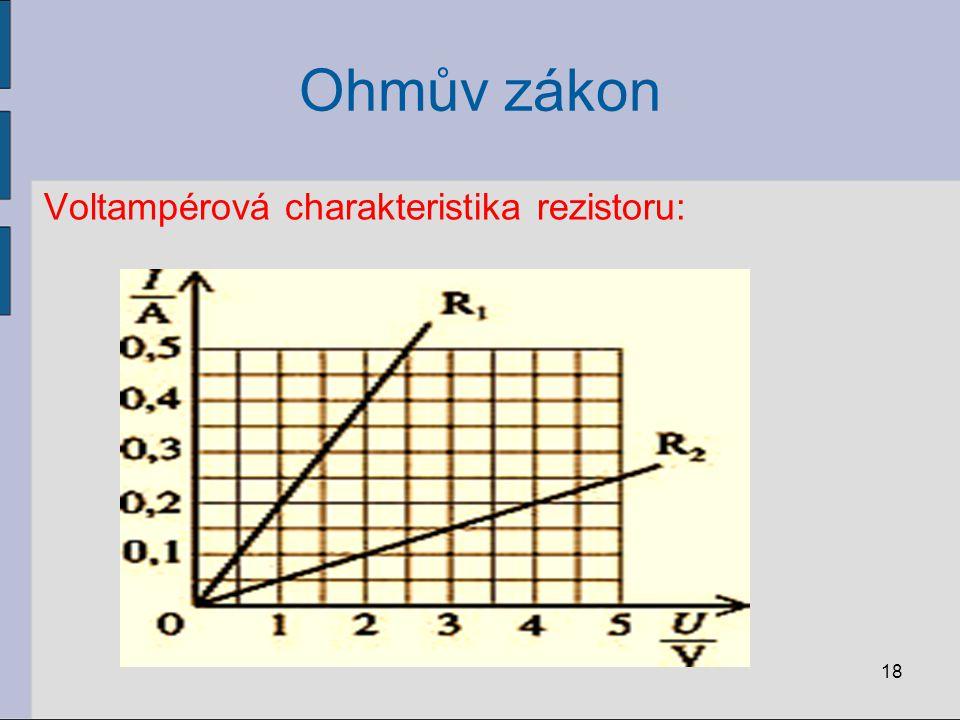Ohmův zákon Voltampérová charakteristika rezistoru: 18
