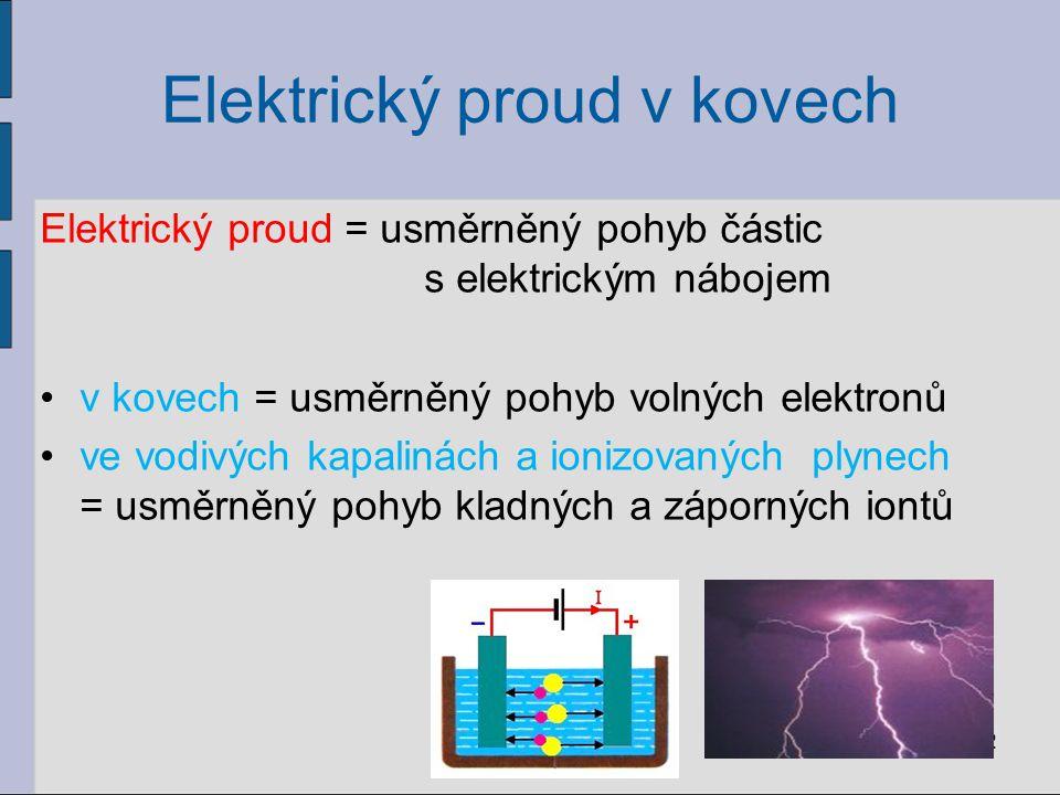 Elektrický proud v kovech Elektrický proud = usměrněný pohyb částic s elektrickým nábojem v kovech = usměrněný pohyb volných elektronů ve vodivých kap
